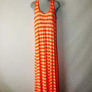 Kanu Racerback Orange Ivory Stripe Maxi Dress